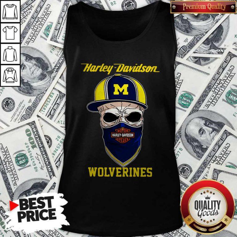 Funny Skull Harley Davidson Wolverines Hat Tank Top