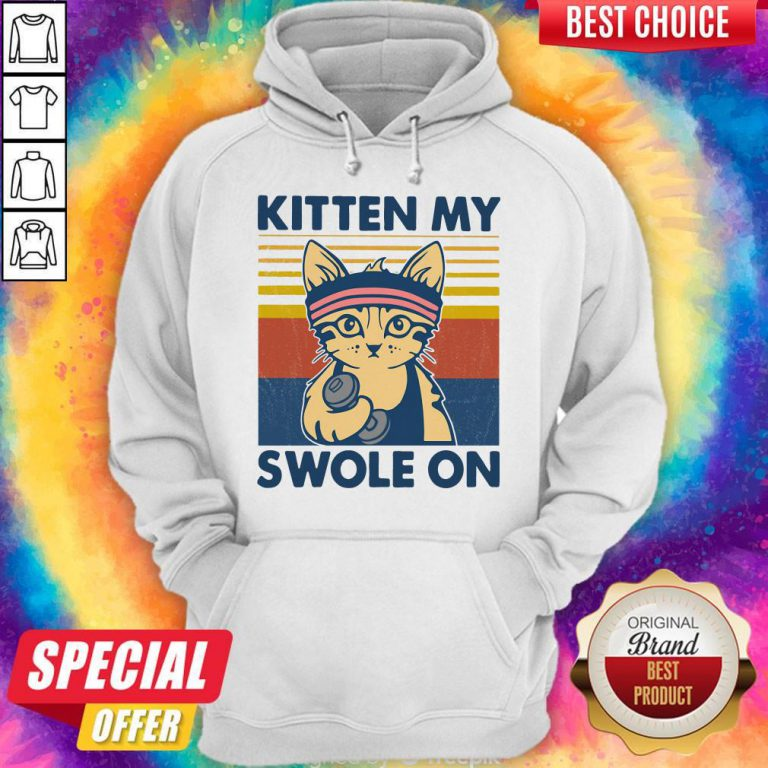 Funny Strong Cat Kitten My Swole On Vintage Hoodie