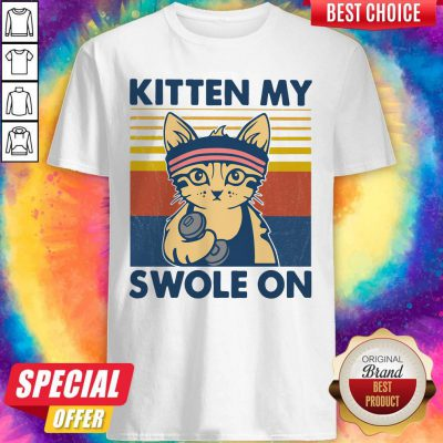 Funny Strong Cat Kitten My Swole On Vintage Shirt