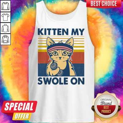 Funny Strong Cat Kitten My Swole On Vintage Tank Top