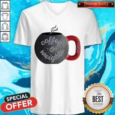 Good Coffee And Weights Fitness Tee Co V-neck