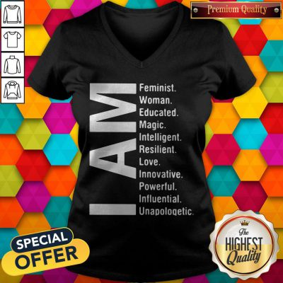 Official I Am Feminist Woman Educated Magic Intelligent V-neck