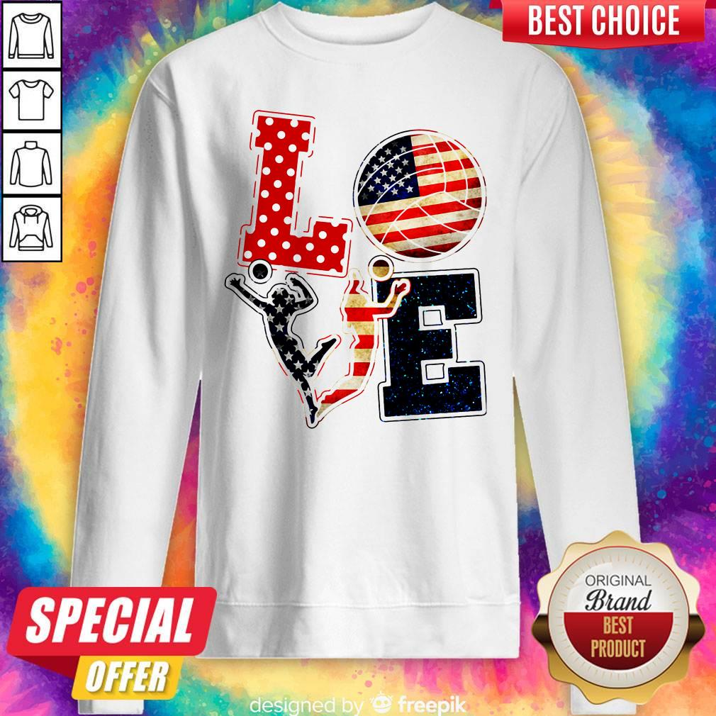 Official Love Volleyball American Flag Sweatshirt