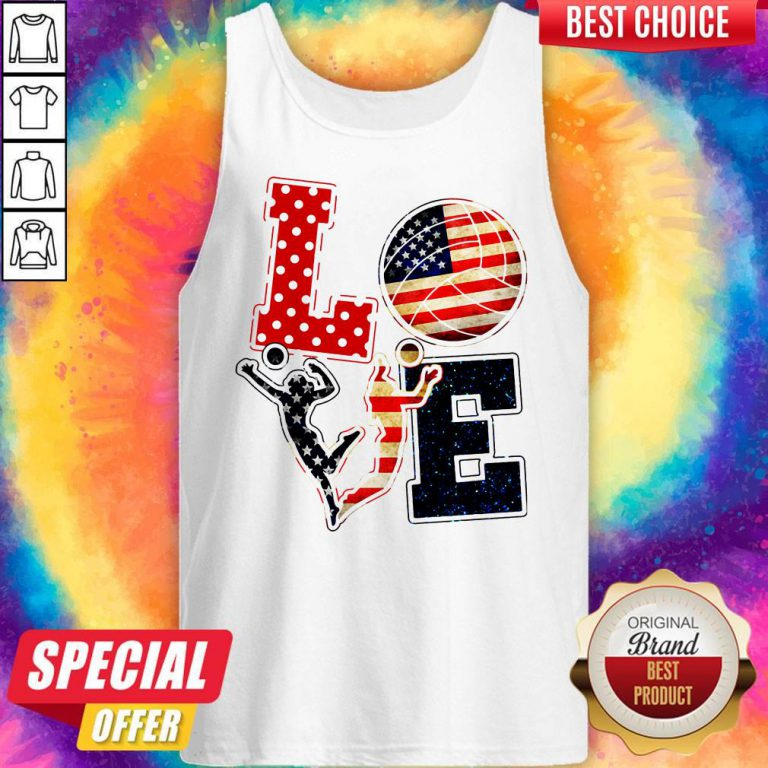 Official Love Volleyball American Flag Tank Top