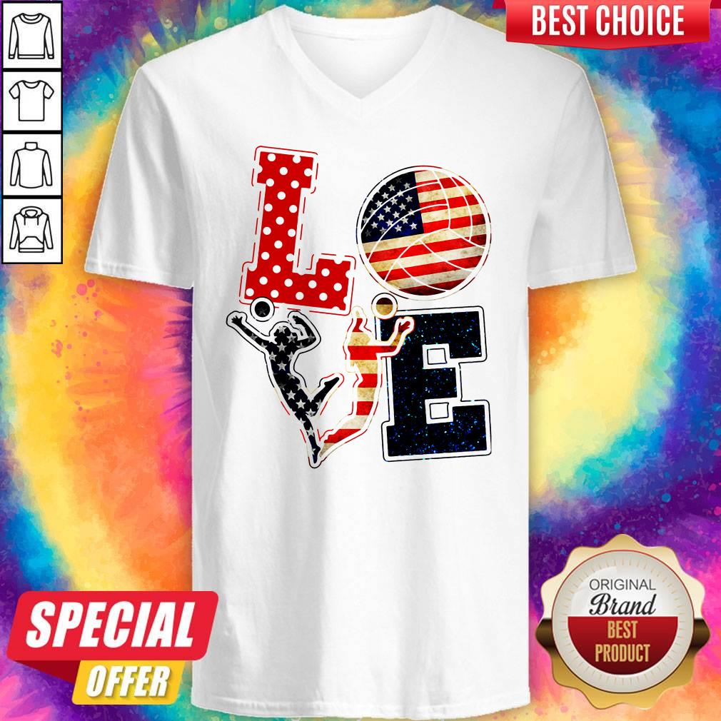 Official Love Volleyball American Flag V-neck