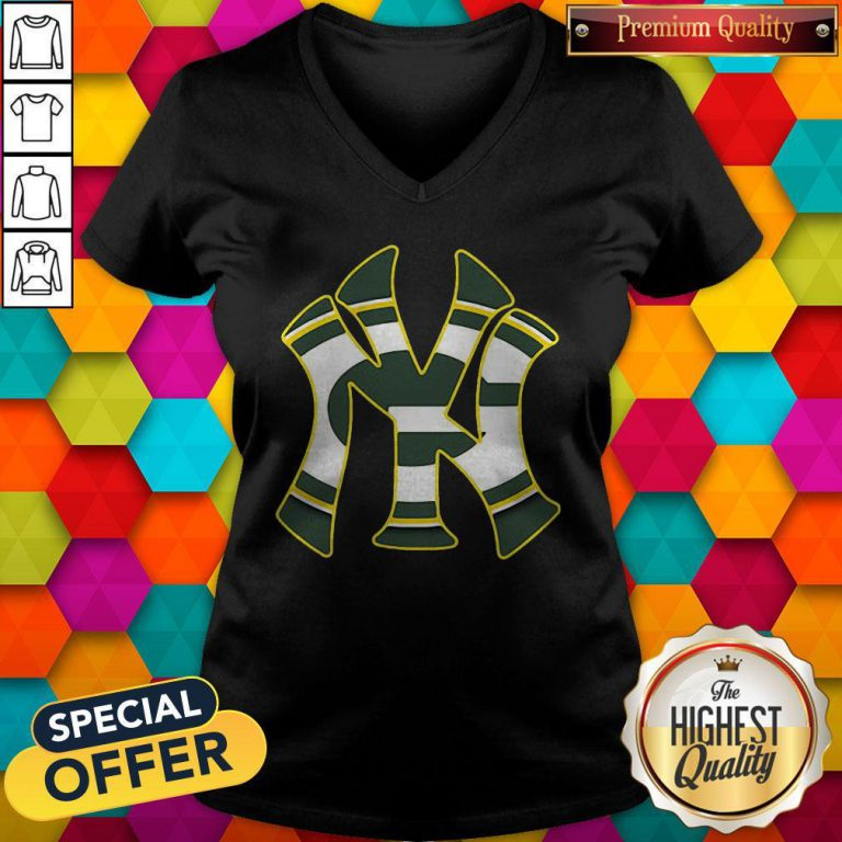 Official New York Yankees And Green Bay Packers V-neck