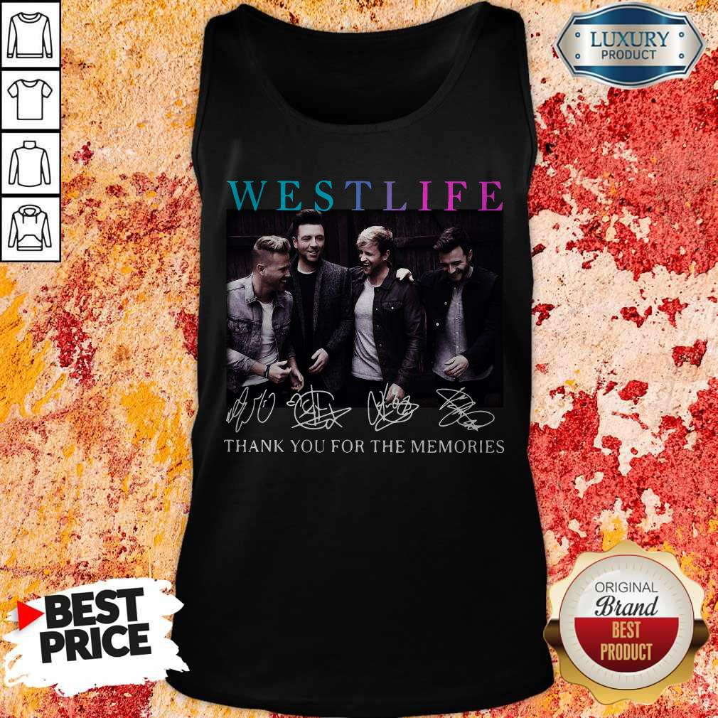 Official Westlife Thank You For The Memories Signatures Tank Top