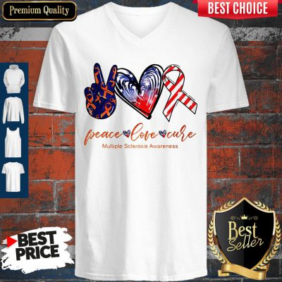 Peace Love Cure Multiple Sclerosis Awareness American Flag Veteran Independence Day V-neck