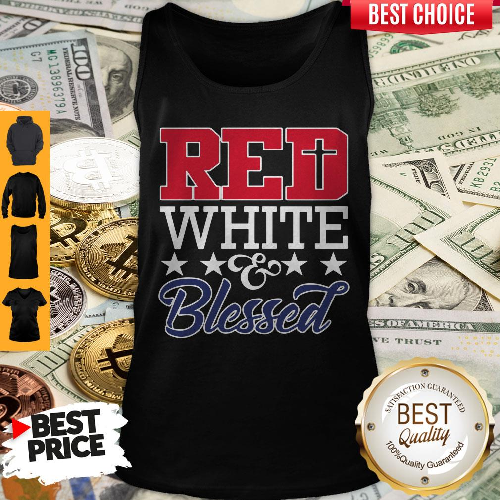 Premium Red White And Blessed Tank Top