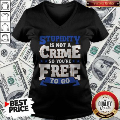 Premium Stupidity Is Not A Crime So You're Free To Go V-neck