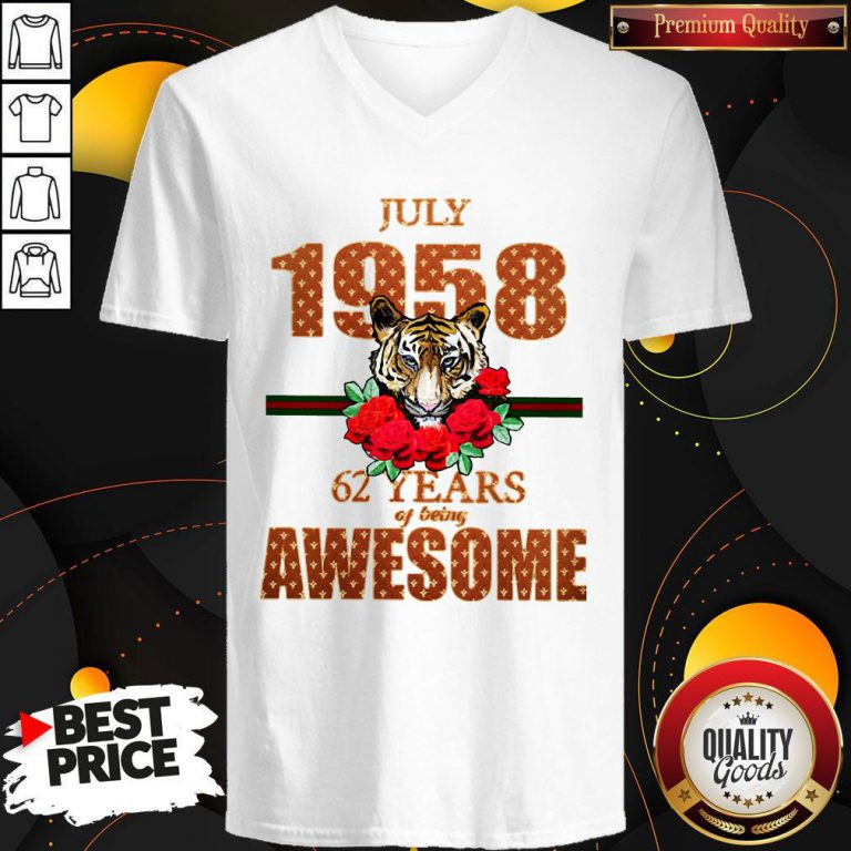 Premium Tiger July 1958 62 Years Of Being Awesome V-neck