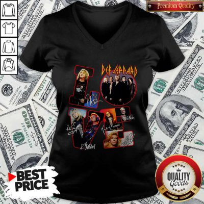 Pretty Love Def-leppard Band Members Signatures V-neck
