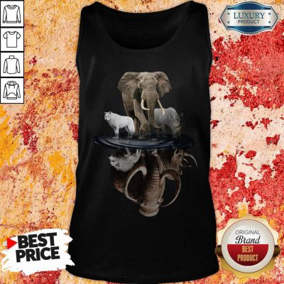 Pretty Wolf Elephant And Rhino Water Reflection Tank Top