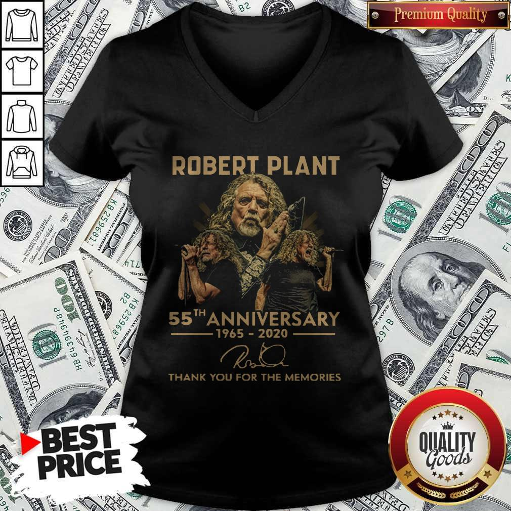 Robert Plant 55th Anniversary 1965 2020 Thank You For The Memories Signature V-neck