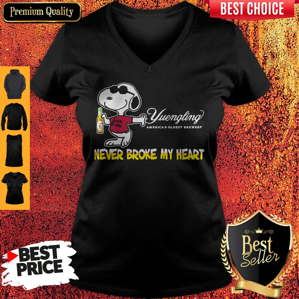 Snoopy Yuengling America's Oldest Brewery Beer Never Broke My Heart V-neck