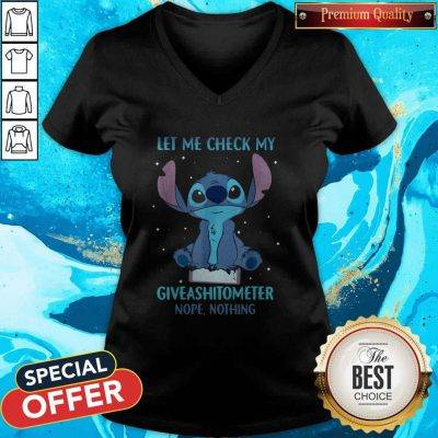 Stitch Let Me Check My Giveashitometter Nope Nothing V-neck