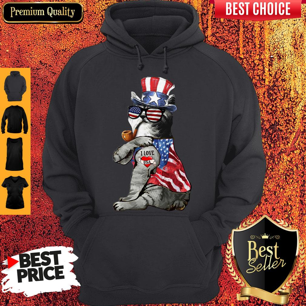 Uncle Sam Cat Tattoo I Love US Happy The 4th Of July Hoodie