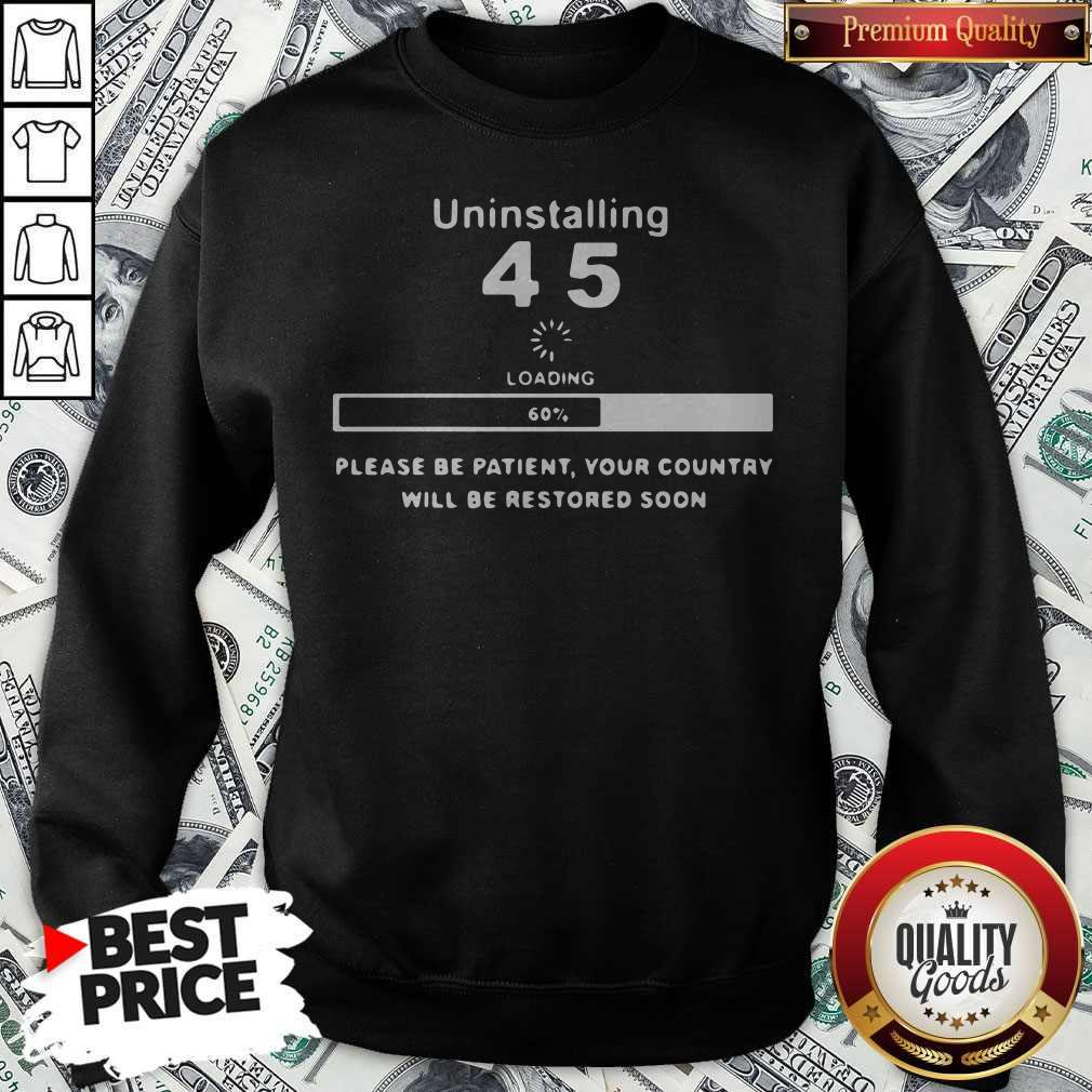 Uninstalling 45 Loading Please Be Patient Your Country Will Be Restored Soon Sweatshirt