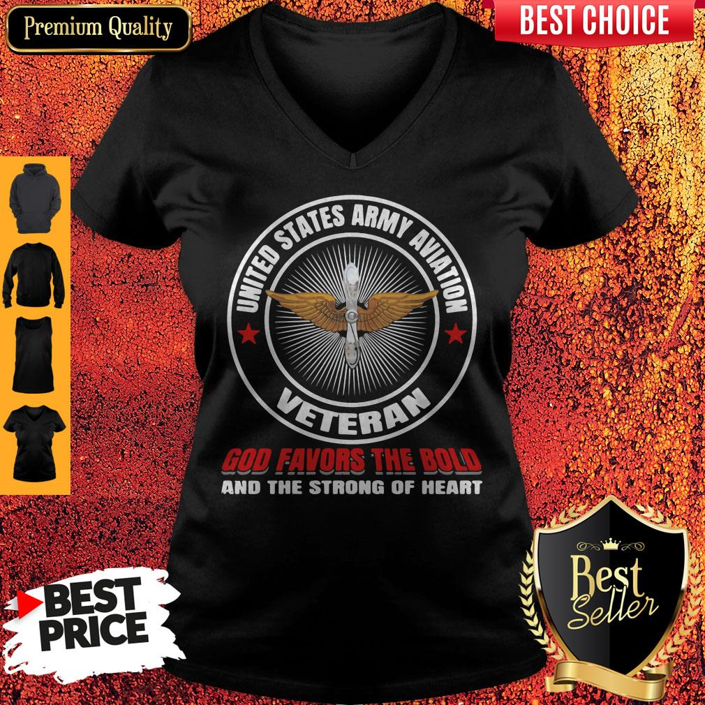 United States Army Aviation Veteran God Favors The Bold And The Strong Of Heart V-neck