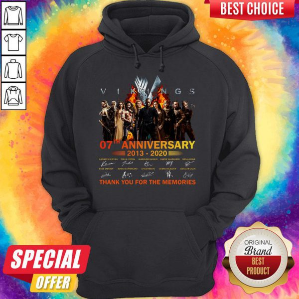 Vikings 07th Anniversary 2013 2020 Thank You For The Memories Signatures Hoodie