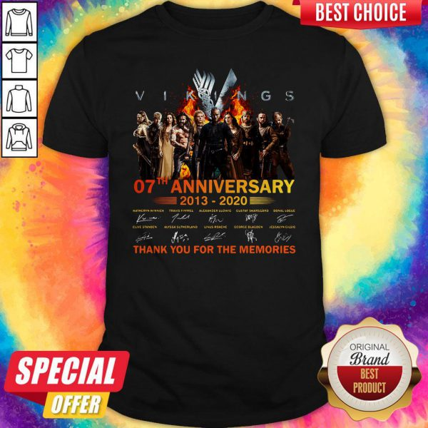 Vikings 07th Anniversary 2013 2020 Thank You For The Memories Signatures Shirt