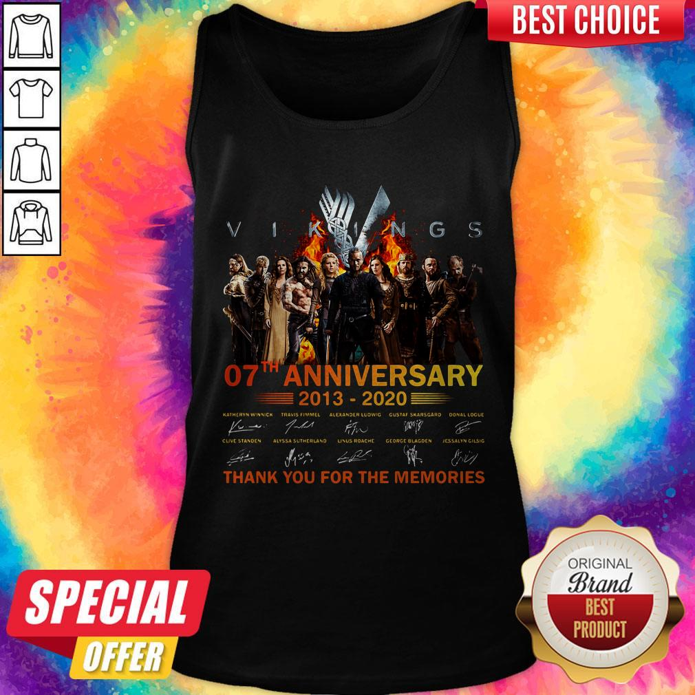 Vikings 07th Anniversary 2013 2020 Thank You For The Memories Signatures Tank Top