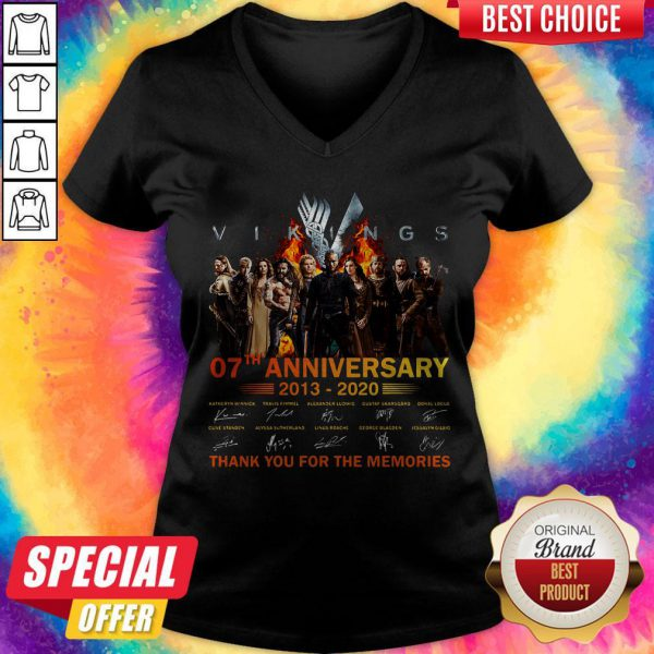 Vikings 07th Anniversary 2013 2020 Thank You For The Memories Signatures V-neck