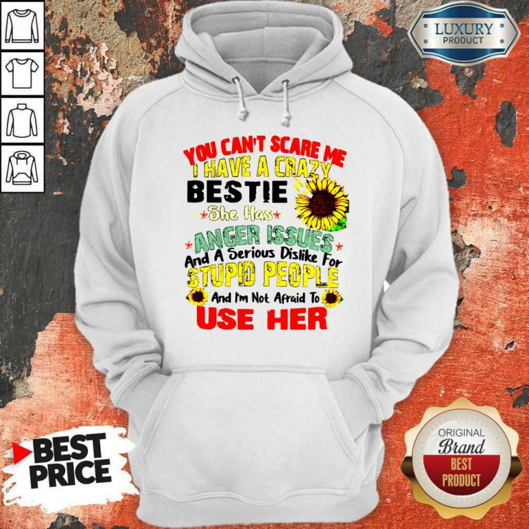 You Can't Scare Me I Have A Crazy Bestie She Has Anger Issues And A Serious Dislike For Stupid People Hoodie