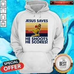 Basketball Jesus Saves He Shoots He Scores Vintage Retro Hoodie
