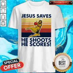 Basketball Jesus Saves He Shoots He Scores Vintage Retro Shirt