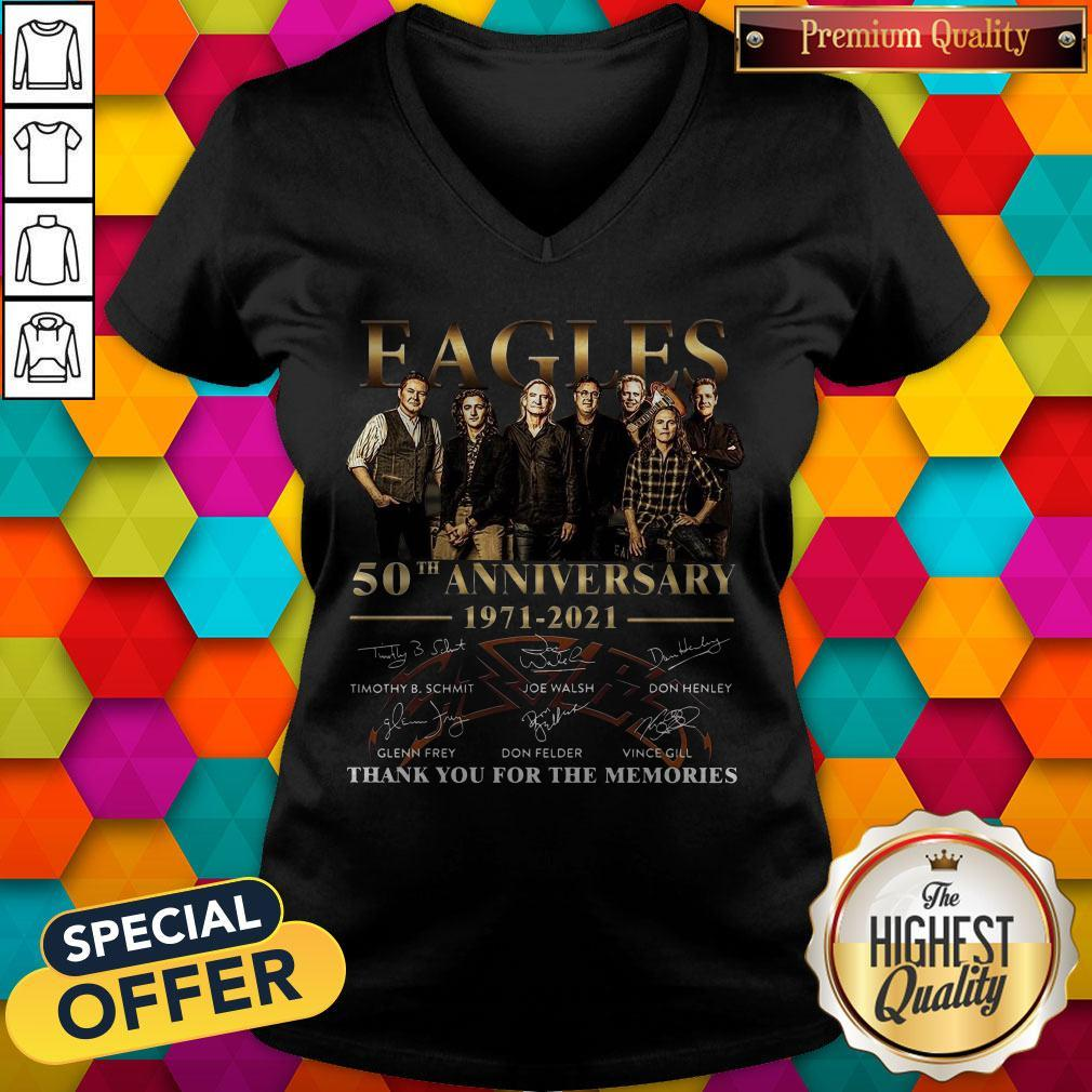 Eagles 50th Anniversary 1971 2021 Thank You For The Memories Signatures V-neck