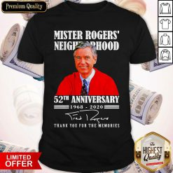 Mister Rogers Neighborhood 52th Anniversary 1968 2020 Thank You For The Memories Signature Shirt