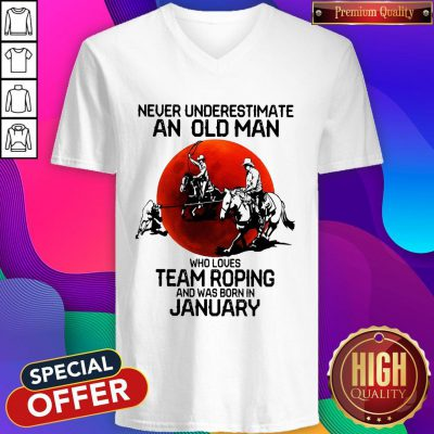 Never Underestimate Who Loves Team Roping And Was Born In July Sunset V-neck