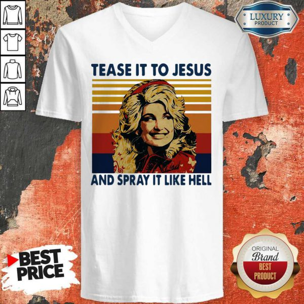 Pretty Tease It To Jesus And Spray It To Hell Vintage V-neck