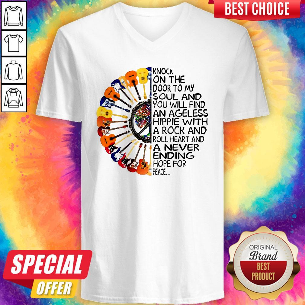 Top Guitars Hippie Sunflower Knock On The Door To My Soul V-neck