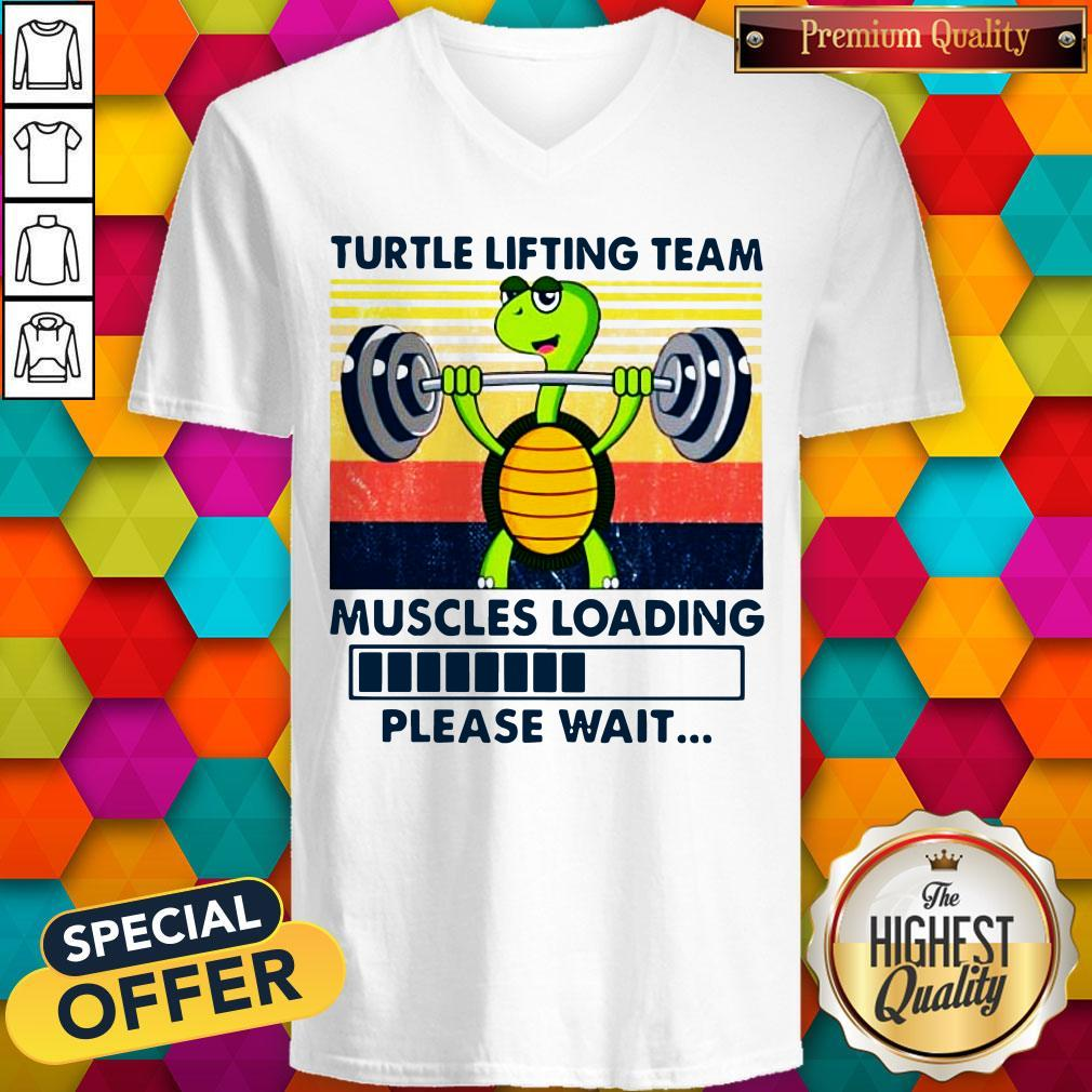Turtle Lifting Team Muscles Loading Please Wait V-neck