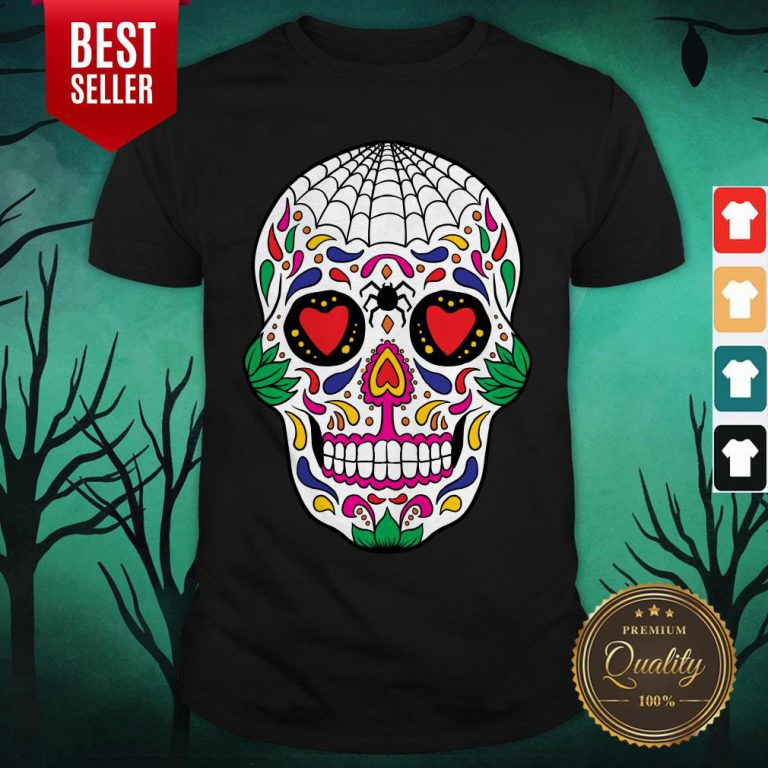 Colorful Mexican Sugar Skull Day Of The Dead Shirt