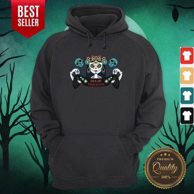Sugar Skull Skeleton Girl Dia De Los Muertos Halloween Hoodie