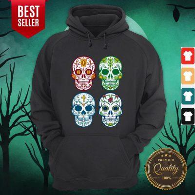 Sugar Skull Color Day Of Dead Dia De Muertos Hoodie