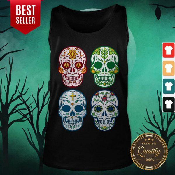 Sugar Skull Color Day Of Dead Dia De Muertos Tank Top