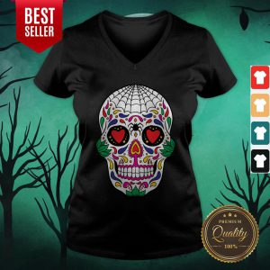 Colorful Mexican Sugar Skull Day Of The Dead V-neck