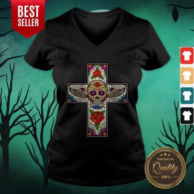 Jesus Sugar Skull Dia De Muertos Day Of Dead V-neck
