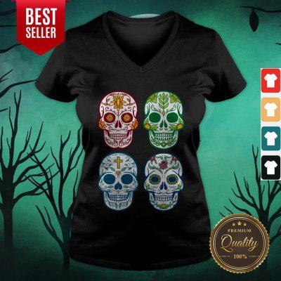 Sugar Skull Color Day Of Dead Dia De Muertos V-neck