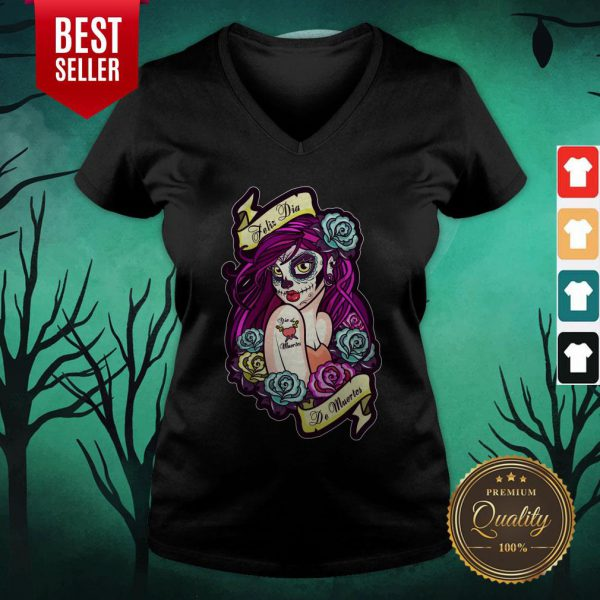 Feliz Dia De Muertos Pin-up Girl V-neck