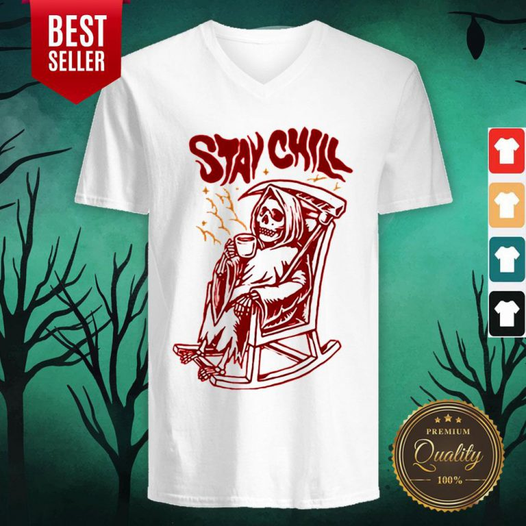 awesome stay chill death drink coffee halloween v neck