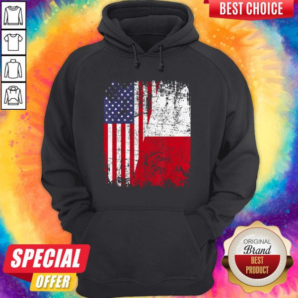 Official American And Poland Flag Hoodie