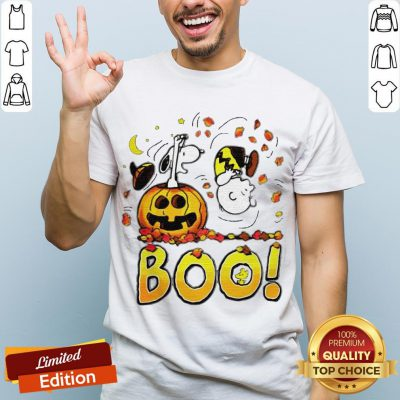 Charlie Brown Woodstock And Snoopy Boo Happy Halloween Shirt