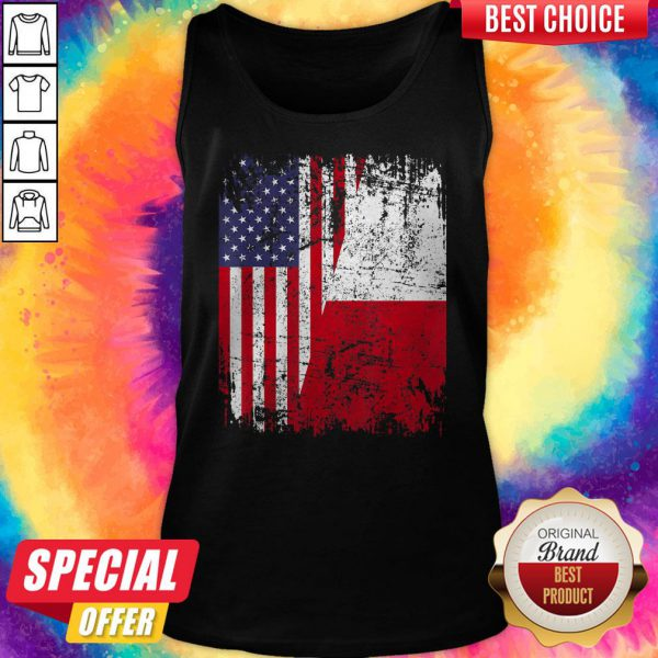 Official American And Poland Flag Tank Top