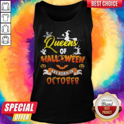 Queen Of Halloween Are Born In October Halloween Tank Top
