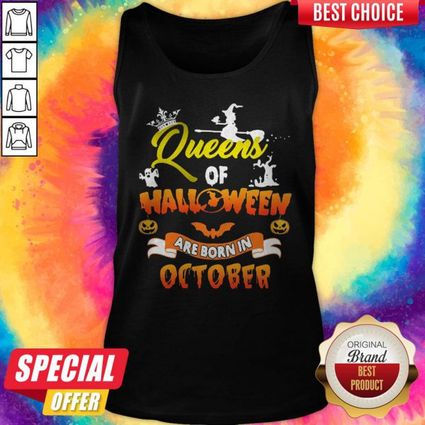 Queen Of Halloween Are Born In October Halloween Tank Top